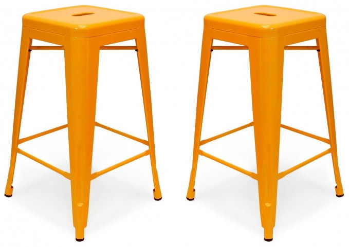 Classic Cafe Galaxy Orange Counter Stool Set of 2