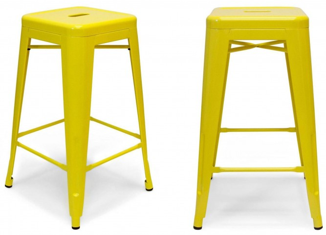 Classic Cafe Galaxy Yellow Barstool Set of 2