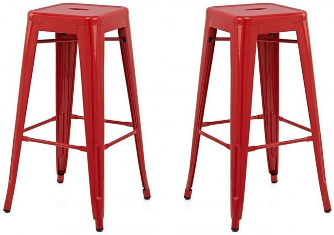Classic Cafe Galaxy Red Counter Stool Set of 2