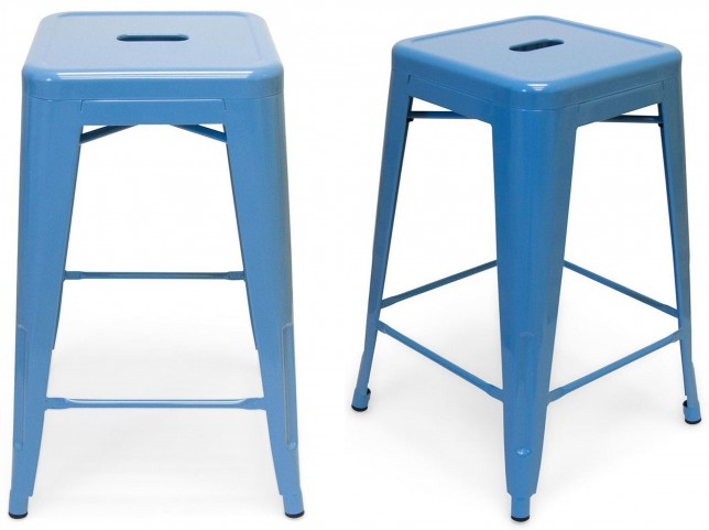 Classic Cafe Galaxy Blue Counter Stool Set of 2