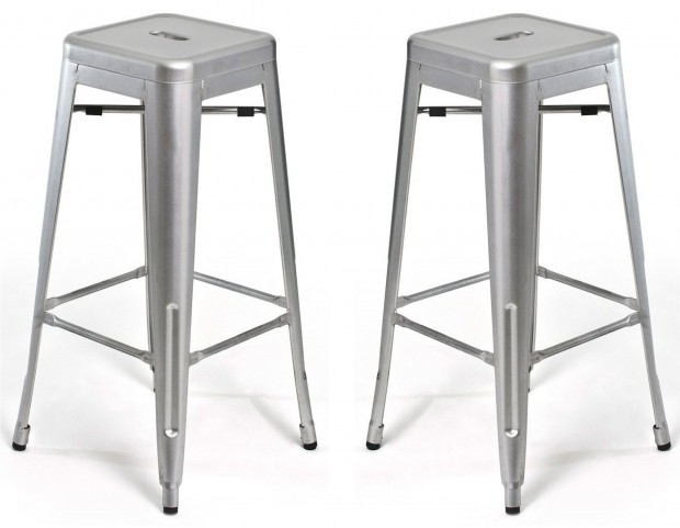 Classic Cafe Galaxy Silver Counter Stool Set of 2