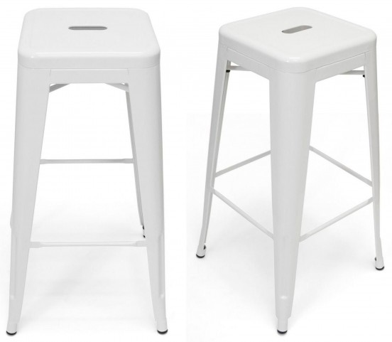 Classic Cafe Galaxy White Barstool Set of 2
