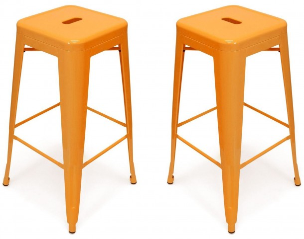 Classic Cafe Galaxy Orange Barstool Set of 2