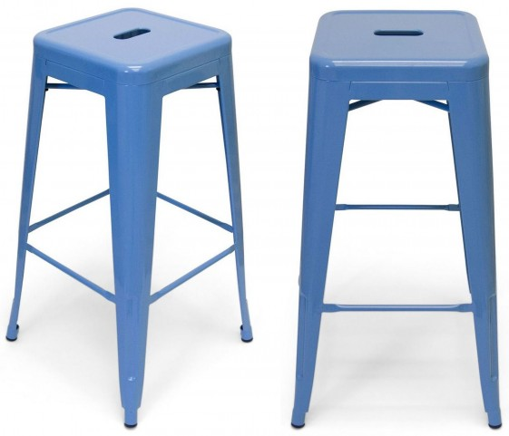 Classic Cafe Galaxy Blue Barstool Set of 2