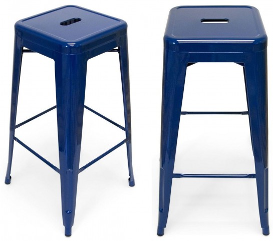 Classic Cafe Galaxy Navy Barstool Set of 2