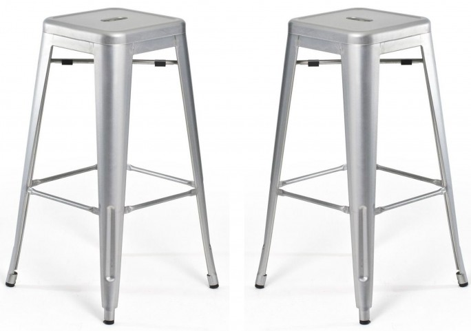 Classic Cafe Galaxy Silver Barstool Set of 2