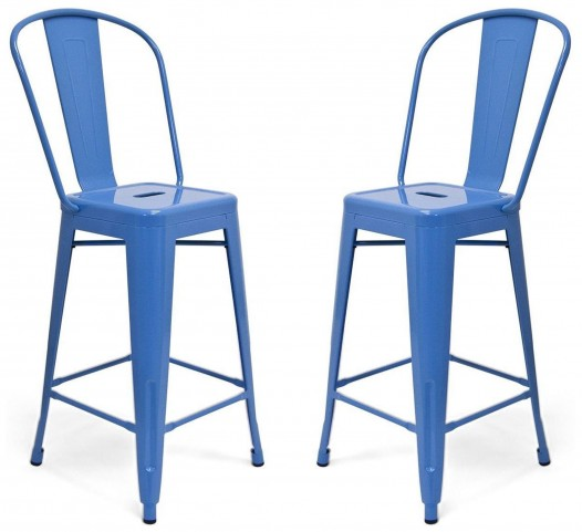 Classic Cafe Garvin Blue Counter Stool Set of 2