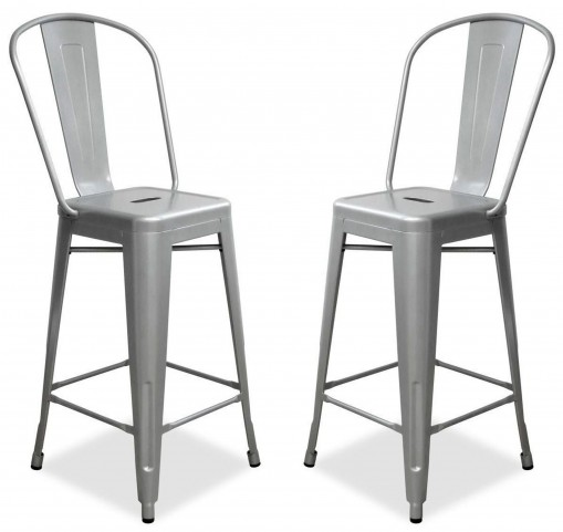 Classic Cafe Garvin Silver Counter Stool Set of 2
