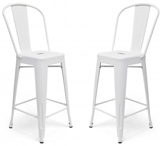 Classic Cafe Garvin White Counter Stool Set of 2