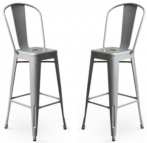 Classic Cafe Garvin Silver Barstool Set of 2