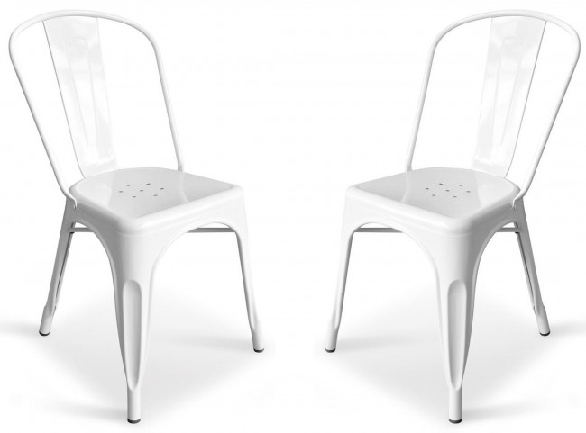 Classic Cafe Garvin 1 White Chair Set of 2