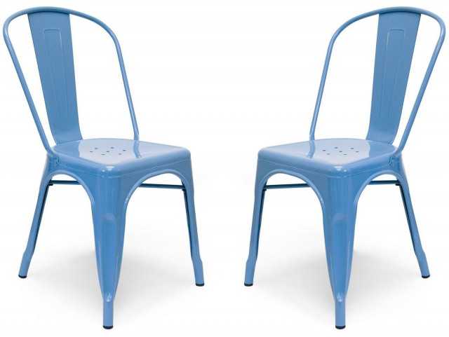 Classic Cafe Garvin 1 Sky Blue Chair Set of 2