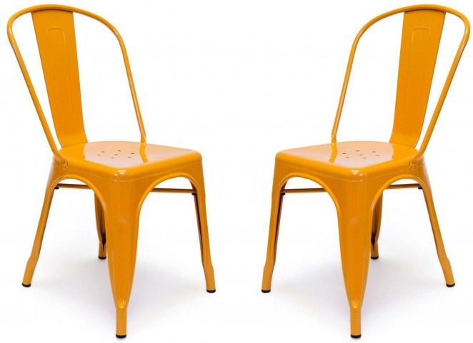Classic Cafe Garvin 1 Orange Chair Set of 2