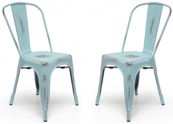 Classic Cafe Garvin 1 Antique Blue Chair Set of 2