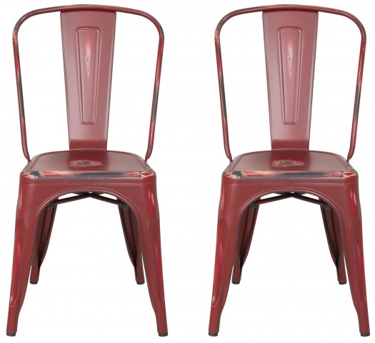 Classic Cafe Garvin 1 Antique Red Color Chair Set of 2