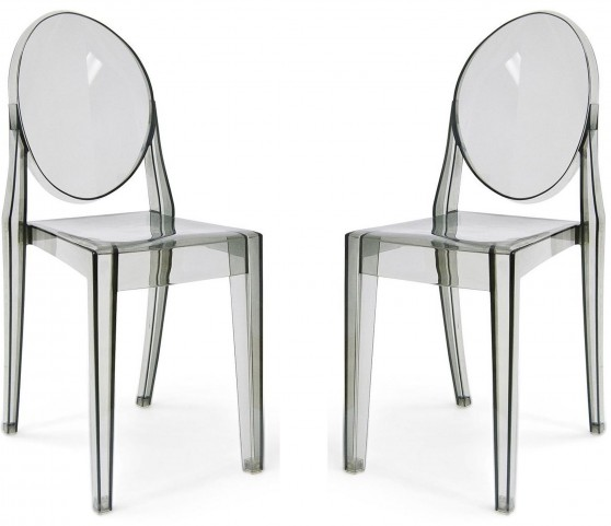 Euro Home Specter Translucent Smoke Polycarbonate Side Chair Set of 2