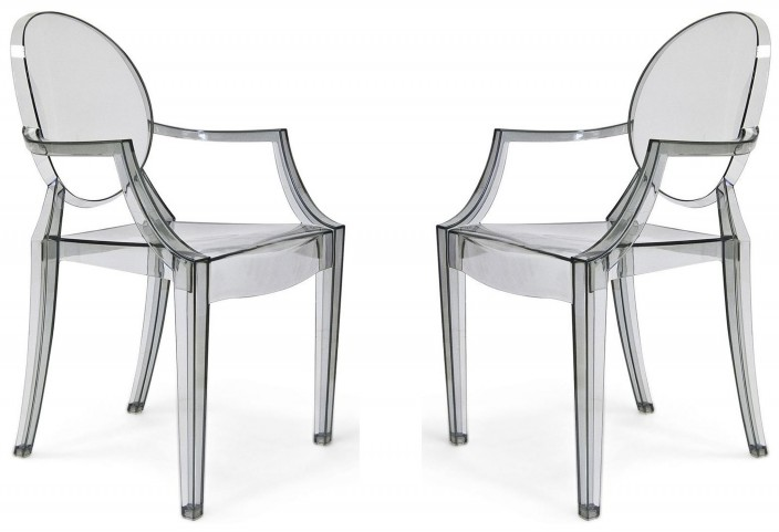 Euro Home Specter Translucent Smoke Polycarbonate Arm Chair Set of 2