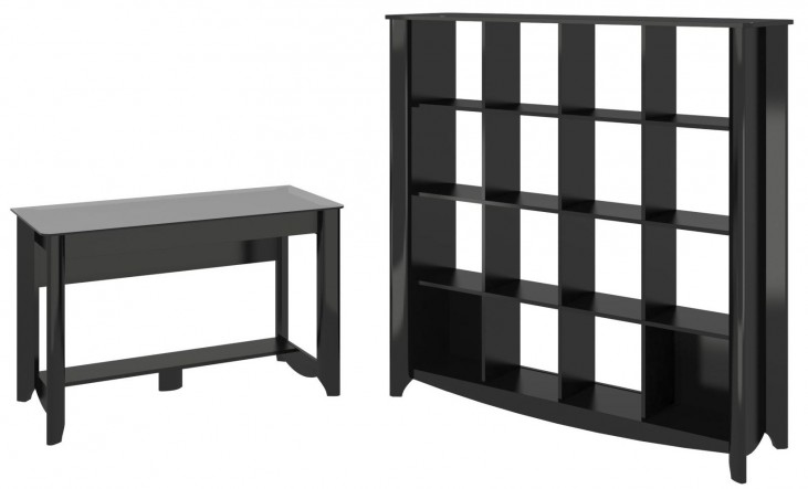 Aero Classic Black Desk With 16 Cube Bookcase