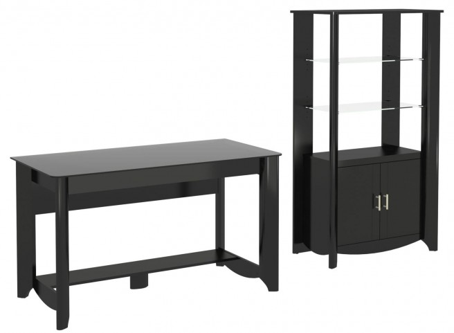 Aero Classic Black Desk With Tall Library Storage