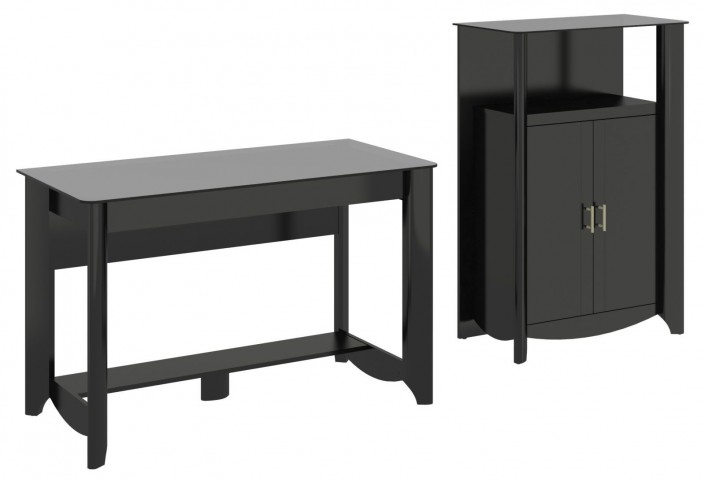 Aero Classic Black Desk With Medium Library Storage