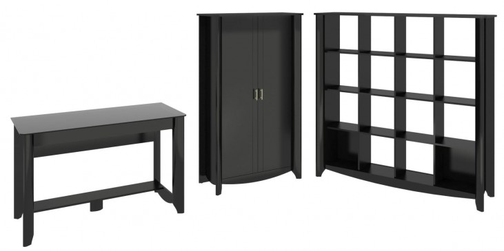 Aero Classic Black Desk With Tall Storage & 16 Cube Bookcase