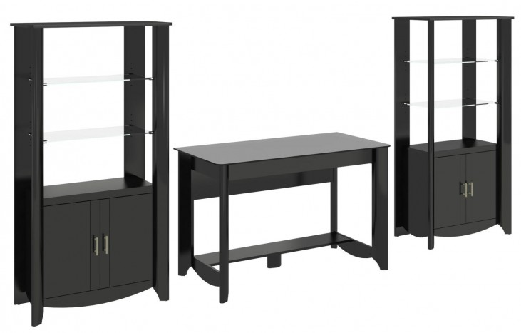 Aero Classic Black Desk With 2 Tall Library Storage
