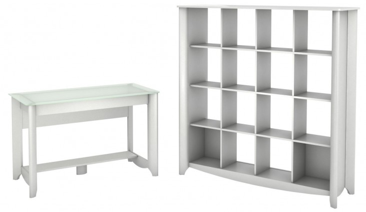 Aero Pure White Desk With 16 Cube Bookcase