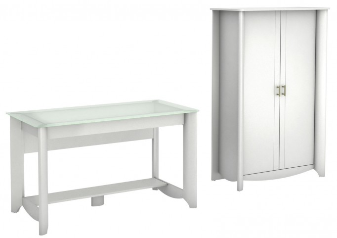 Aero Pure White Desk With Tall Storage
