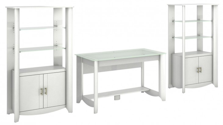 Aero Pure White Desk With 2- Tall Library Storage