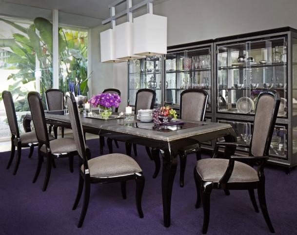 After Eight Titanium Leg Rectangular Dining Room Set