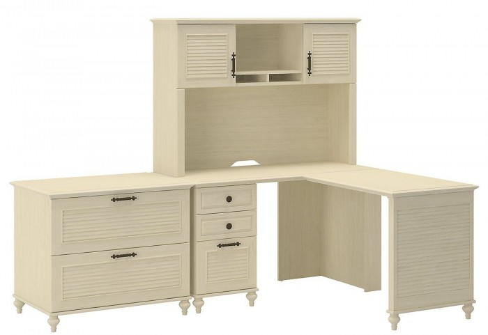 Volcano Dusk Driftwood Dreams Office L-Desk with Lateral File & Hutch