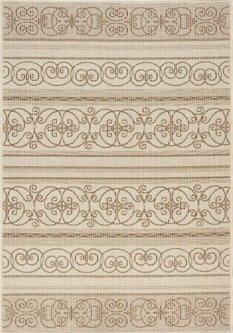 Alpha Beige/Brown Scrolls and Stripes Flatweave Medium Rug