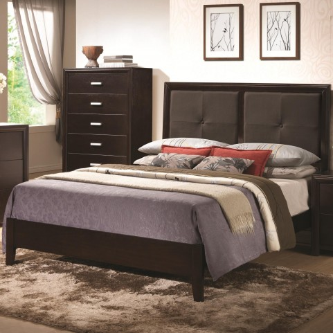 Andreas Cappuccino Padded Queen Platform Bed