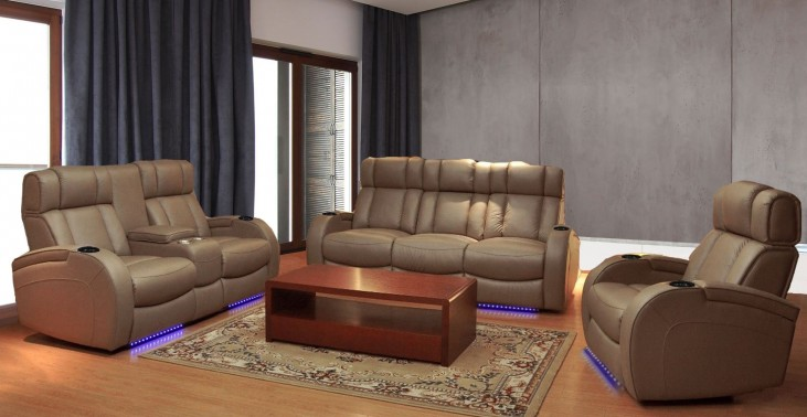 Andromeda Taupe Leather Gel Power Reclining Living Room Set