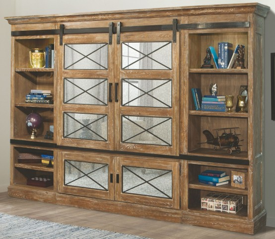 Annapolis Vintage Weathered Ash Sliding Door Entertainment Wall