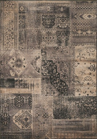 "Antika Brilliant Dark Patchwork 79"" Floor Cloth Rug"
