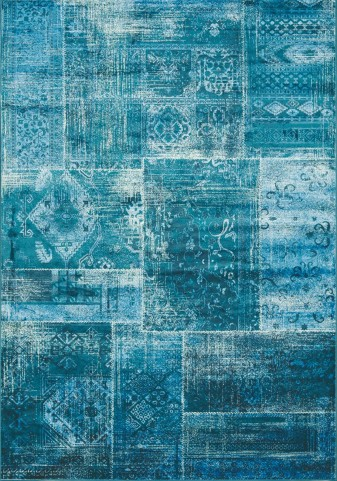 "Antika Brilliant Teal Patchwork 79"" Floor Cloth Rug"