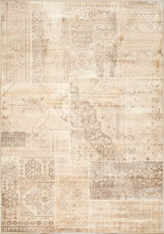 "Antika Brilliant Beige Patchwork 79"" Floor Cloth Rug"