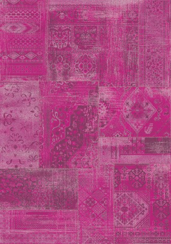 "Antika Brilliant Pink Patchwork 67"" Floor Cloth Rug"
