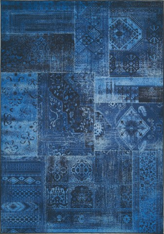 "Antika Brilliant Navy Patchwork 67"" Floor Cloth Rug"