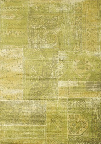 "Antika Brilliant Green Patchwork 67"" Floor Cloth Rug"