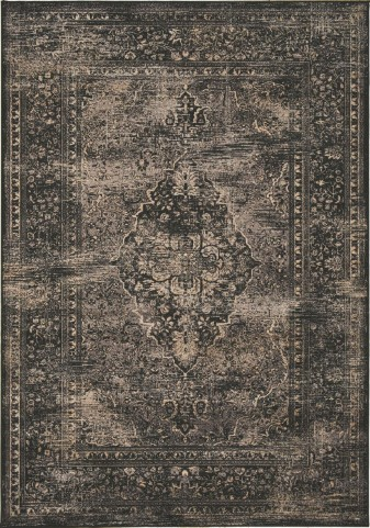 "Antika Black Old World 79"" Floor Cloth Rug"