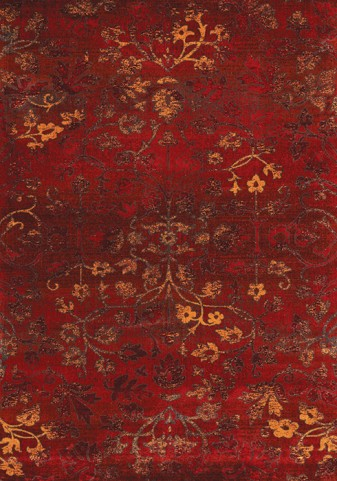 Antika Intricate Red Flowers Floor Cloth Medium Rug
