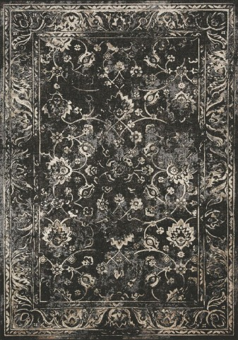 Antika Black/Cream Floral Floor Cloth Large Rug