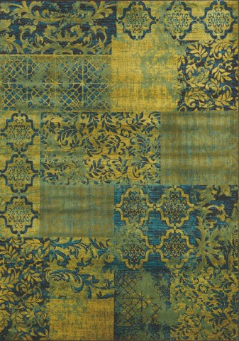 Antika Green/Brown Patchwork Floor Cloth  Medium Rug