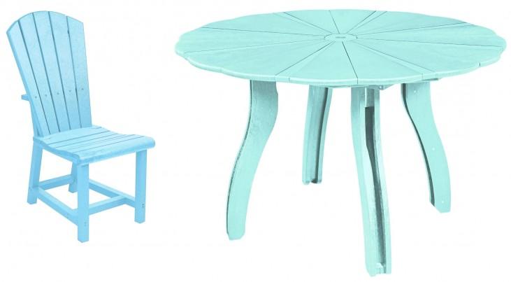 "Generations Aqua 52"" Scalloped Round Dining Room Set"