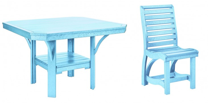 "St Tropez Aqua 45"" Square Dining Room Set"