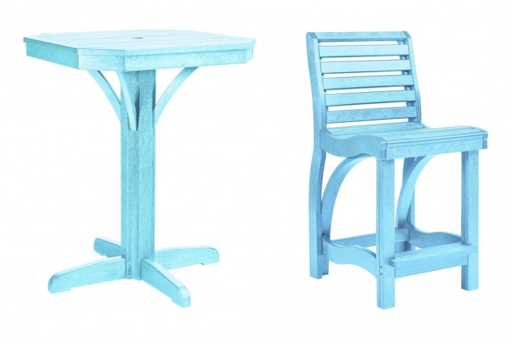 "St Tropez Aqua 28"" Square Counter Pedestal Dining Room Set"