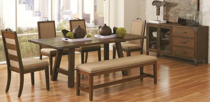 Arcadia Weathered Acacia Rectangular Trestle Dining Room Set