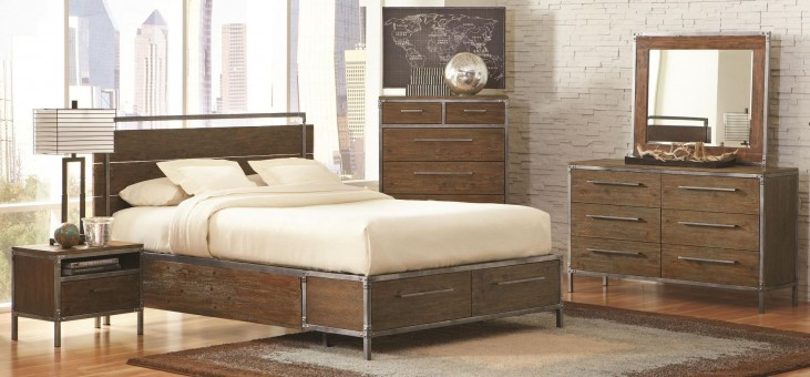 Arcadia Weathered Acacia Platform Storage Bedroom Set
